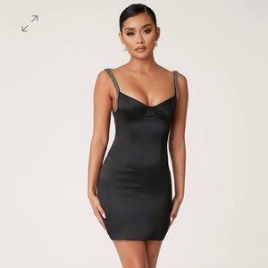 Meshki 'Apryl' Satin Diamante Strap Mini Dress